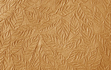 Brown Paper With Decorative Pattern Texture Leaves Shape For Background
