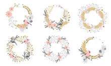 Wreaths With Christmas Decorative Elements - Plants, Branches, Jay And Red Cardinal Birds. Traditional Symbols, Greeting Card, Vector Illustration.