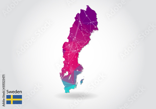Fotomural Vector polygonal Sweden map