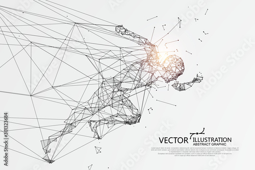 People running break through the Internet,Network connection turned into, vector illustration Canvas