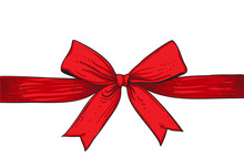 Red Ribbon Isolated On White B...