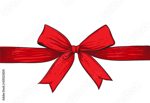 red ribbon isolated on white background Canvas