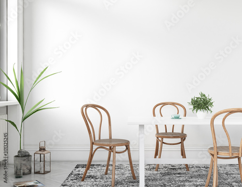 mock up empty wall in farmhouse interior style, dining table, 3D render Fotobehang