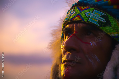 native Americans.portrait of Americans Indian man. Canvas Print