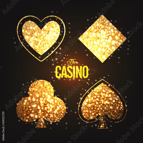 Golden Playing Cards symbols for Casino. Wallpaper Mural