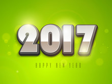 Glossy 3D Text 2017 For New Year Celebration.
