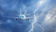 Airplane In The Sky With Thunder And Lightning