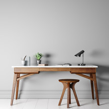 Mock Up Empty Wall In Modern Interior Background, Wooden Office, 3D Render, 3D Illustration