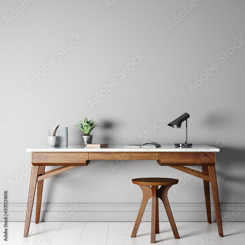 Obraz mock up empty wall in modern interior background, wooden office, 3D render, 3D illustration - fototapety do salonu