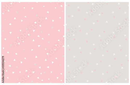 Fototapeta Cute Abstract Stars and Tiny Triangles Seamless Vector Patterns. White Geometric Elements Isolated on a Pink and Gray Background.  Simple Pastel Color Print Ideal for Fabric, Textile, Wrapping Paper. obraz na płótnie