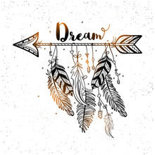 Hand Drawn Dreamcatcher With A...