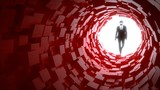 Fototapeta Perspektywa 3d - Hacker entering a red cubic tunnel cybersecurity concept