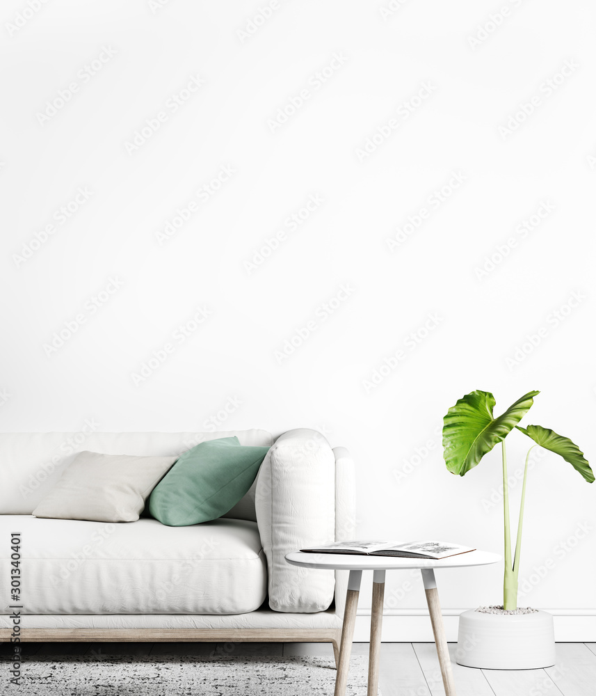 Fototapeta Stylish modern interior with mock up background and empty wall , white sofa, furniture, white decoration, Ready to use, Template, trendy home decor.
