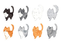Set Of Cute Cats In The Same Pose. Watercolor Hand Painting Illustration On A White Background. Design For Decoration In Pet Artwork Advertising.