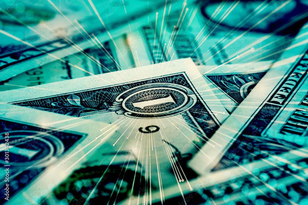 Fototapety, obrazy: Nahaufnahme von Dollar Geldscheinen