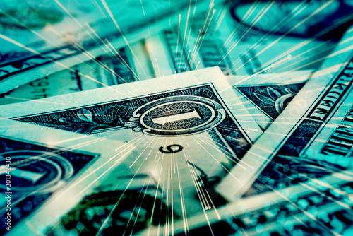 Cuadros en Lienzo  Nahaufnahme von Dollar Geldscheinen