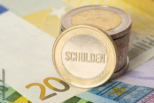 Euro Geld, Münze und Schulden Canvas Print