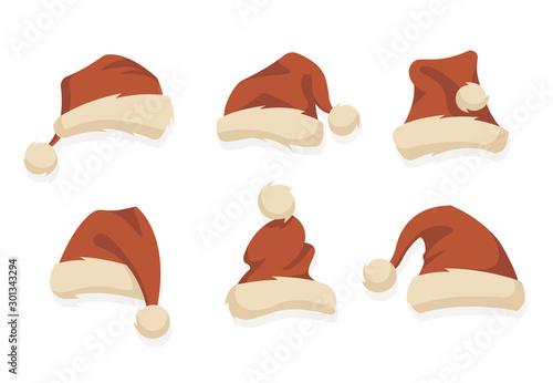 Cuadros en Lienzo Santa hats. Christmas elements for your festive design.
