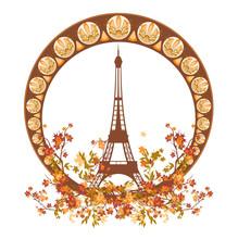 Eiffel Tower Among Autumn Tree Branches Inside Art Nouveau Style Circle Frame - Fall Season In Paris Vector Design