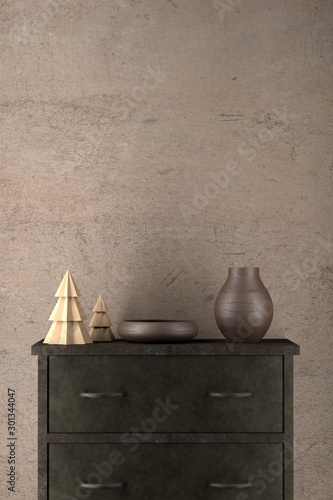 Fotografering Dark sideboard with Christmas decoration and empty wall with copy space, mock up