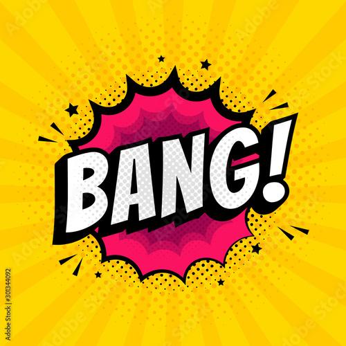 Plakaty Pop Art  bang-sign-wording-comic-speech-bubble-in-pop-art-style-on-burst-and-haft-tone-background-cartoon-background
