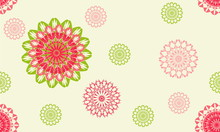 Seamless Background Of Soft Pastel Color Mandala Pattern In A Random Arrangement, Suitable For Textile, Wrap Paper, Wallpaper.