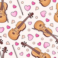 Musical Instrument Violin Pattern Vector Love