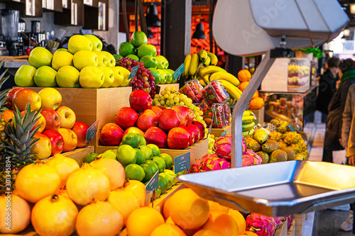 Fresh tropical fruits on the counter in the market.