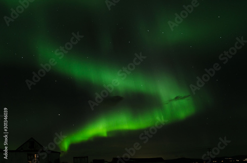Vászonkép amazing aurora borealis made in iceland, incredible patterns cover the sky, gree