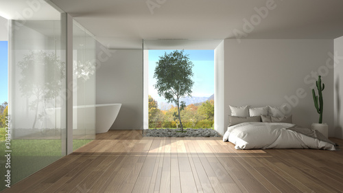 Fotografie, Obraz  Contemporary bedroom with bathroom, parquet, big panoramic window, stained glass