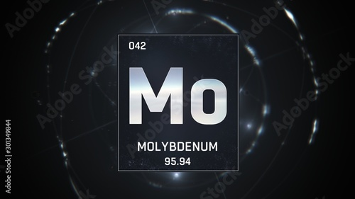 3D illustration of Molybdenum as Element 42 of the Periodic Table Wallpaper Mural