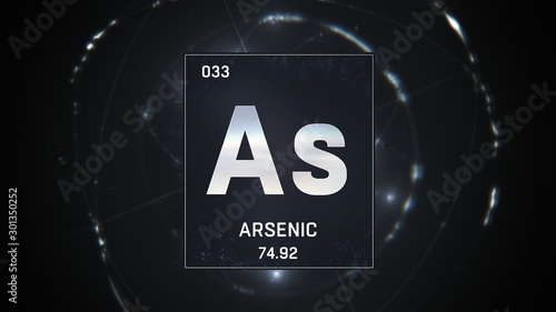 3D illustration of Arsenic as Element 33 of the Periodic Table Canvas Print