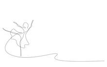 Ballet Dancer Continuous Line Draw, Vector Illustration