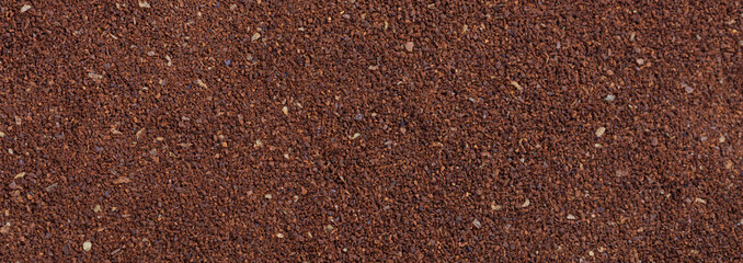 Coffee ground full background, banner, top view