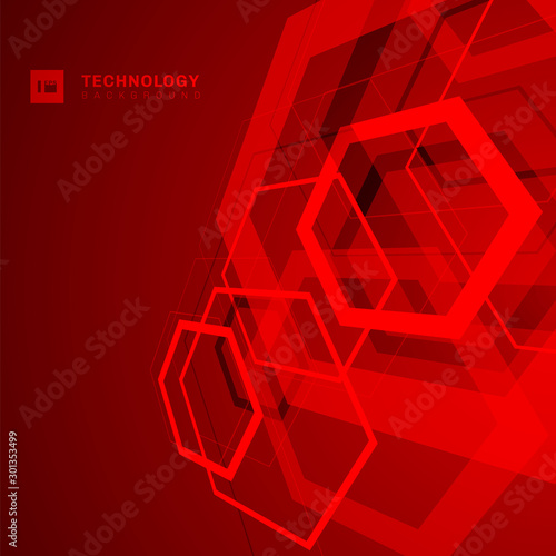 Obraz Abstract geometric overlapping hexagon shape technology digital futuristic concept perspective red background with space for your text. - fototapety do salonu