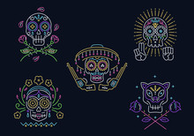 Day Of The Dead Vector Skull Graphic Design Set In Neon Style For Any Use