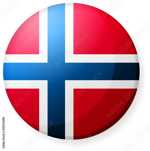 Fototapeta Circular country flag icon illustration ( button badge ) / Norway