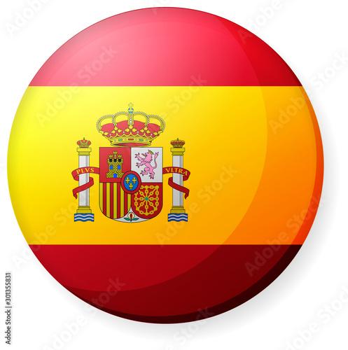 Obraz na plátně Circular country flag icon illustration ( button badge ) / Spain