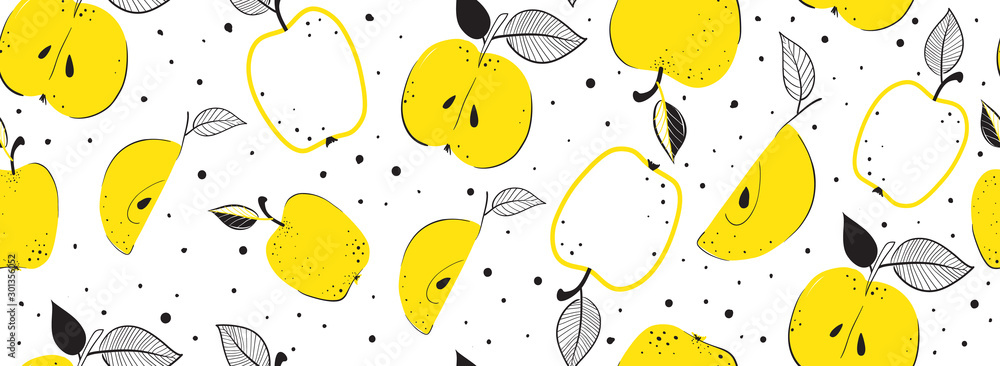 Seamless bright light pattern with apples and leaves for fabric, drawing labels, print on t-shirt, wallpaper of children's room, fruit background. Slices of a apples doodle style cheerful background. <span>plik: #301356052 | autor: Stilesta</span>