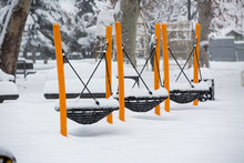 Playground Equipment In A Snow...