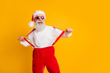 Cool Funky Santa Claus Party Hard Christmas Celebration Enjoy X-mas Newyear Time Pull Suspenders Pants Shirt Isolated Over Bright Color Background