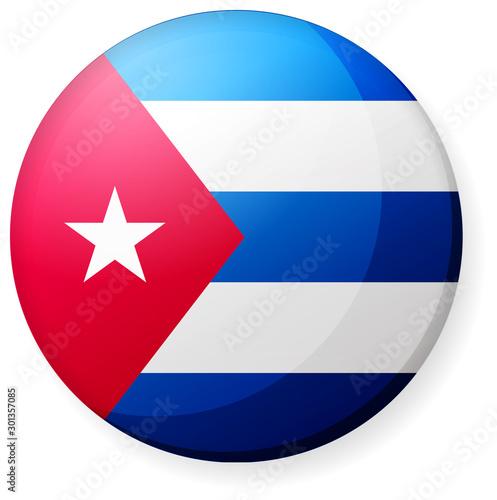 Fotografie, Obraz Circular country flag icon illustration ( button badge ) / Cuba