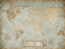 Blue Vintage World Map Illustr...