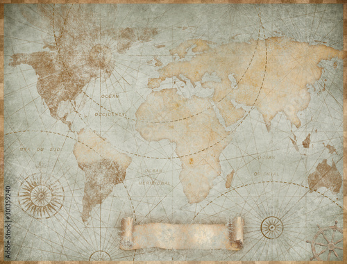 Blue vintage world map illustration based on image furnished by NASA - fototapety na wymiar