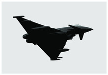 Eurofighter Typhoon. Fighter Jet In The Sky. Vector Image For Illustration. Vector Template.