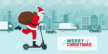 Futuristic Santa Claus Carrying Gifts On A Kick Scooter