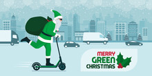 Eco Friendly Green Santa Carrying Gifts On A Kick Scooter