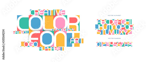Colorful letters and numbers set. Colored vector latin alphabet. Rainbow color font. Creative applique ABC, negative space monogram, art logo and poster template. Typography design.
