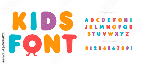 Kids letters and numbers set. Cartoon bold style alphabet. Childish font for events, promotions, logos, banner, monogram and poster. Vector typography design.