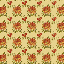 Background With Orange Peonies And Branches With Leaves